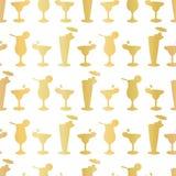 Lyxig Frosty Cocktail Glasses Seamless Pattern för guld- folie bakgrund royaltyfri illustrationer
