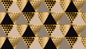 Lyxig geometrisvart, guld och beige sömlös vektor stock illustrationer