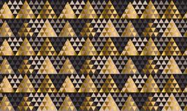 Lyxig geometrisvart, guld och beige sömlös vektorillustrati stock illustrationer