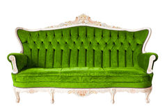 Lyxig grön sofa för tappning royaltyfria bilder