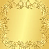 Lyxig guld- bakgrund med blom- patte för tappning Arkivbilder