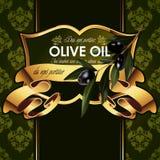 Lyxig guld- dekorativ design för vektor med oliv royaltyfri illustrationer