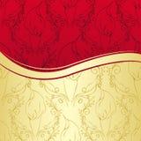 Lyxig guld och röd blom- bakgrund Royaltyfri Fotografi