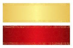 Lyxig guld- och röd presentkort med virvel Royaltyfri Bild