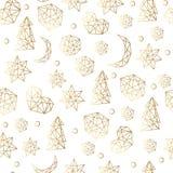 Lyxig guld- sömlös modell för nytt år och för jul med stjärnor, bollar, noel, måne Hälsningkort, inbjudan, reklamblad stock illustrationer