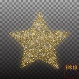 Lyxig guld- stjärna för vektor Beståndsdelen för annonsering av affischen för vilar Arkivfoton