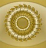 Lyxig guld- tegelplatta med rosettmodeller, effekt 3d Isolerad guld- cirkelrosett på ljus guld- bakgrund Royaltyfri Fotografi