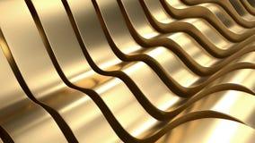 Lyxig guld- tolkning för vågabstrakt begreppbakgrund 3D Royaltyfri Bild
