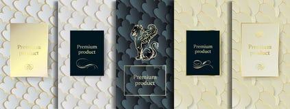 Lyxig högvärdig design Fastställda förpackande mallar för vektor med olik textur för lyxiga produkter stock illustrationer