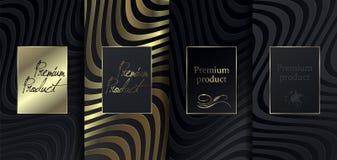 Lyxig högvärdig design Fastställda förpackande mallar för vektor med olik textur för lyxiga produkter bakgrund för nBlackpapperss royaltyfri illustrationer