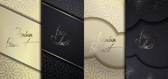 Lyxig högvärdig design Fastställda förpackande mallar för vektor med olik textur för lyxiga produkter storgubbedesign royaltyfri illustrationer