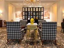 Lyxig hotelllobbyinre av Ritz Carlton Tianjin Kina royaltyfria foton