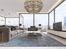 Lyxig inre av modern stil för vardagsrum med TVenheten, soffan, fåtöljer, kaffetabellen och den äta middag tabellen med kök vektor illustrationer