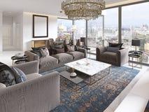 Lyxig inre av modern stil för vardagsrum med TVenheten, soffan, fåtöljer, kaffetabellen och den äta middag tabellen med kök stock illustrationer