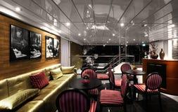 Lyxig inre av restaurangen av kryssningskeppet Royaltyfri Foto