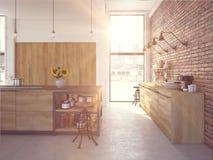 Lyxig kökinre för modern design framförande 3d royaltyfri illustrationer
