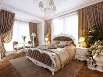 Lyxig klassisk modern sovruminredesign stock illustrationer