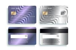 Lyxig kreditkortmalldesign Specificerade realistiska försilvrar kreditkortmodellen vektor illustrationer