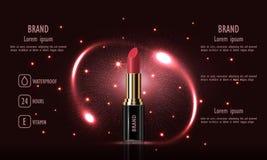 Lyxig kvinnlig läppstiftkräm för skönhetsmedel för makeup på svart bakgrund, mall för en affisch, baner, vektorillustration Royaltyfria Foton