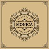Lyxig logomall i vektorn för restaurangen, royalty, boutique, kafé, hotell som är heraldiskt, smycken royaltyfria foton