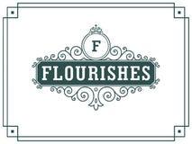 Lyxig logomall i vektorn för restaurangen, royalty, boutique, kafé, hotell som är heraldiskt, smycken arkivfoton