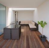 lyxig modern privat terrass Arkivfoto