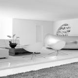 Lyxig modern vardagsrum med garnering 1 royaltyfria bilder
