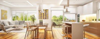 Lyxig modern vardagsrum med kök i ett utrymme royaltyfria foton