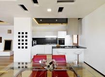 lyxig modern white för kök arkivbild