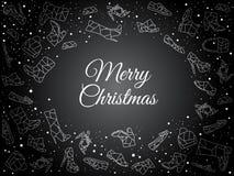Lyxig och elegant svart ferietapet med det stora stället för text och snö Handskriven titel för glad jul royaltyfri illustrationer