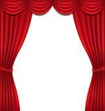 Lyxig röd gardin på vit bakgrund Royaltyfri Foto