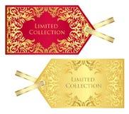 Lyxig röd och guld- prislapp med tappningpatte Arkivbild