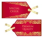 Lyxig röd och guld- prislapp med tappningpatte Royaltyfria Foton