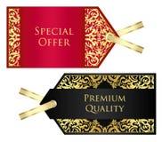 Lyxig röd och svart prislapp med guld- tappning Royaltyfria Foton