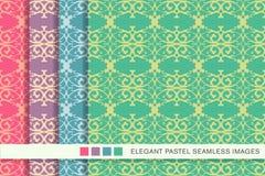 Lyxig ram C för sömlöst pastellfärgat för bakgrundsuppsättningspiral kors för kurva vektor illustrationer