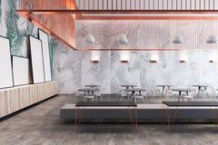 Lyxig restauranginre för marmor, affischer Royaltyfria Bilder
