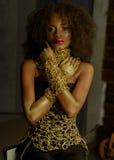 Lyxig stående av den kvinnliga modellen för sexig afrikansk amerikan med glansig guld- makeup som poserar till kameran bronser royaltyfria bilder