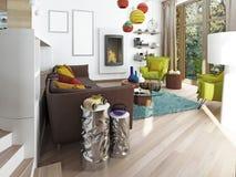 Lyxig stor vardagsrum i stilen av hötorgskonsten Royaltyfria Foton