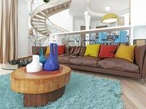 Lyxig stor vardagsrum i stilen av hötorgskonsten Arkivbild