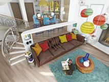 Lyxig stor vardagsrum i stilen av hötorgskonsten Royaltyfri Bild