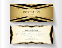 Lyxig storgubbeinbjudanmall med guld- bakgrund och dekorativt guld- vektor illustrationer