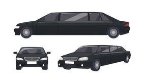 Lyxig svart limousine som isoleras på vit bakgrund Elegant högvärdigt lyxigt motorfordon, bil eller bil Uppsättning av royaltyfri illustrationer