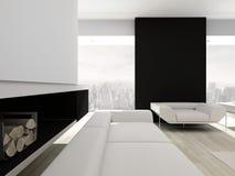 Lyxig svartvit vardagsruminre Fotografering för Bildbyråer