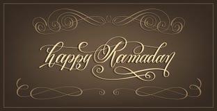 Lyxig text för handbokstäverkalligrafi - lycklig Ramadan stock illustrationer