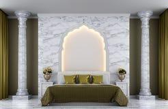Lyxig tolkningbild för sovrum 3d Arkivbild