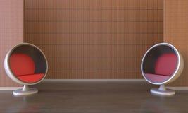 Lyxig uppehälle för vind och för modernt rum med den wood väggen och röd cirkelstol Royaltyfri Foto