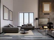 Lyxig vardagsrum i en vinddesign, med ett högt tak och en stor hörnsoffa nära det panorama- fönstret Stor betong royaltyfri illustrationer
