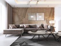 Lyxig vardagsrum i modern stil med den trädekorativa panelen på väggen Studiolägenhet med en soffa och äta middag vektor illustrationer