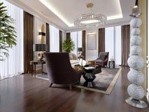 Lyxig vardagsrum i modern stil med soffan, fåtölj, märkes- möblemang, TVställning, stor dekorativ ljusstake, runda royaltyfri illustrationer