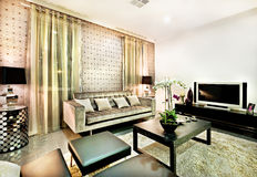 Lyxig vardagsrum med den svartbänkar och tabellen royaltyfri fotografi